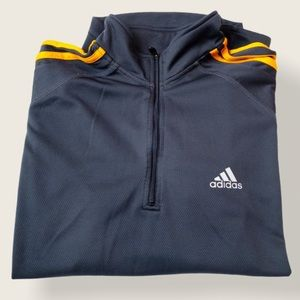 Adidas Dark Grey and Orange 1/4 Zip Long Sleeve - Size L